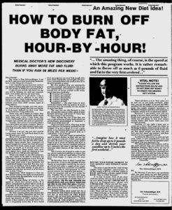How to Burn Off Body Fat Hour By Hour from Ads in Chapter 17 of The Boron Letters