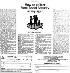 How To Collect Social Security At Any Age from Ads in Chapter 17 of The Boron Letters