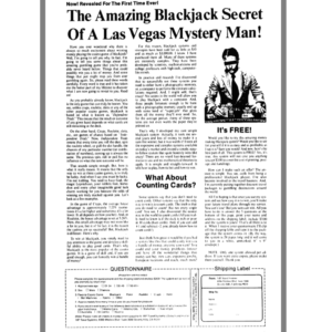 The Amazing Blackjack Secret Of A Las Vegas Mystery Man from Ads in Chapter 17 of The Boron Letters
